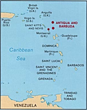 antigua / caribbean map