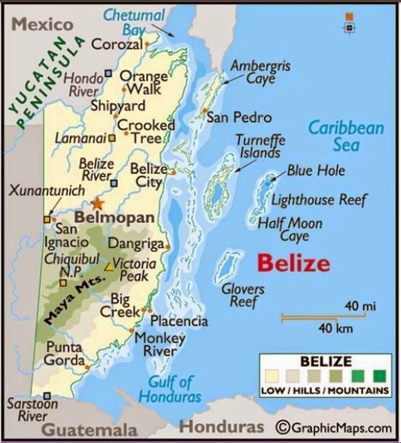Belize map for yacht charter