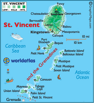 MAP St Vincent - Grenadines